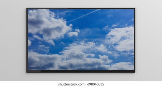 Blue sky on a tv screen on white background. 3d illustration
