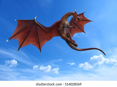 blue sky red dragon war ready to attack 3d illustration