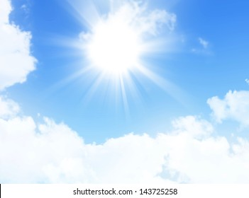 blue sky with sun and beautiful clouds