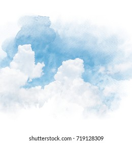 Blue sky with white cloud. Artistic watercolor painting (retouch) abstract background.