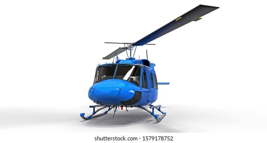Blue small military transport helicopter on white isolated background. The helicopter rescue service. Air taxi. Helicopter for police, fire, ambulance and rescue service. 3d illustration.