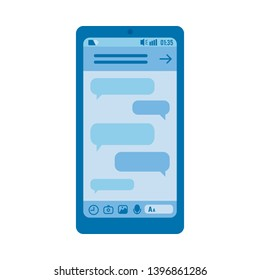 blue smartphone digital screen with chat messages bubbles. Online social communication and network icon, messenger design template. Isolated illustration.