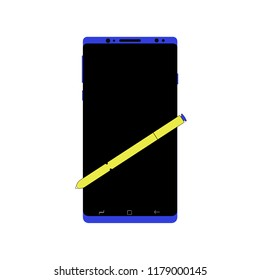 Blue Smartphone With Yellow Stylus Pen Big Screen Icon
