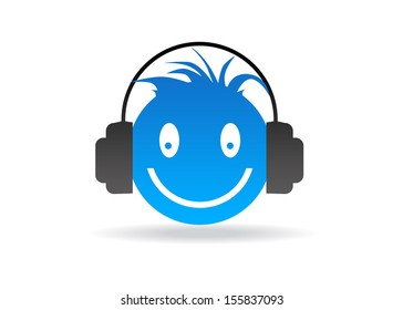 Blue Smiley with headphones