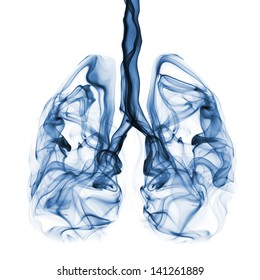 Blue smoke formation shaped as human lungs. Illustration of smokers lungs which could be used in non-smoking campaigns or lung cancer campaigns.