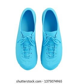 Blue sneakers isolated on white background. Trendy fashion style. Minimal design art. 3d illustration.