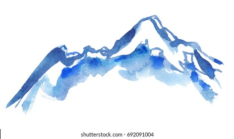 Blue snowy mountain peaks painted in watercolor on clean white background