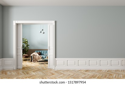 Blue sofa in living room behind the opened classic white sliding doors, interior background of modern apartmentwith empty wall. 3d rendering