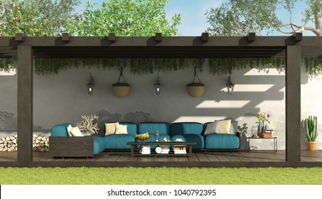 Blue sofa under a wooden pergola in a home garden - 3d rendering