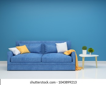 Blue sofa and wall living room interior 3d rendering Background mock up