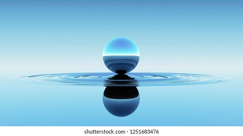 Blue Sphere in Water Abstract Background. 3D illustration