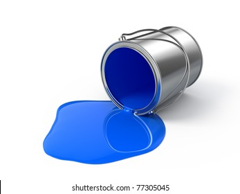 Blue spilled paint
