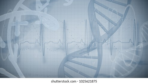 Blue spiral dna pattern on screen against white background