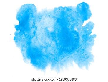 Blue splash watercolor blot is a template for your designs.