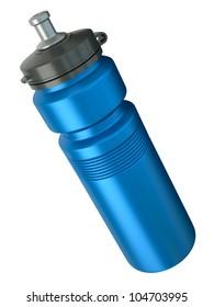 Blue sports water bottle. 3D render.