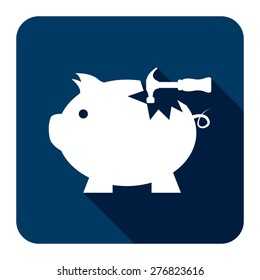 Blue Square Broken Piggy Bank With Hammer Flat Long Shadow Style Icon, Label, Sticker, Sign or Banner Isolated on White Background
