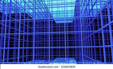 blue square lines futur high technology business background 3D illustration
