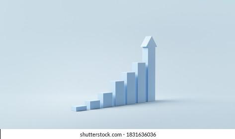 Blaue Treppe Schritt zu Wachstumserfolg, 3D-Rendering, Fortschritt-Weg-Kreativkonzept