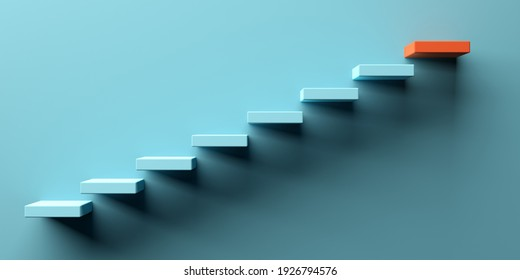 Blue stairs leading to orange top step, success, top level or career minimal modern concept, 3D illustration
