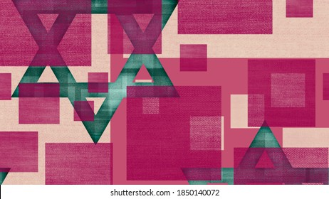 Blue Star of David - the symbol of Judaism in geometric style wallpaper with magenta squares on a pink background, suitable for a bar or bat mitzvah, Israel's Independence Day and Tishrei holidays