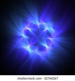 blue star fractal over black
