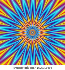 Blue Star Orange Star / A digital fractal image with an optically challenging pointed geometric star design in blue, orange, yellow, red and violet.