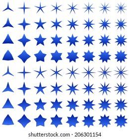 Blue star shape collection - jpg version