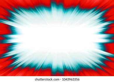 Blue starburst explosion frame with a white copy space centre on a red background