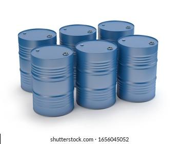 Blue steel barrels isolated on white, 3D illustration