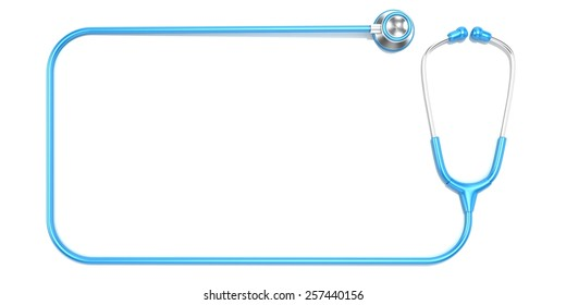 Blue stethoscope as frame, with space for text. Top view