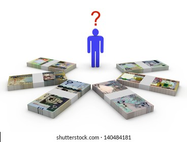 Blue stick person between all gulf cooperation council money and united state of america isolated on white background