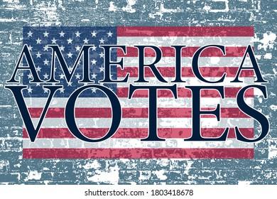 blue stone wall american flag america votes poster board invite