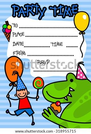 blue striped boys birthday party invitation stock illustration
