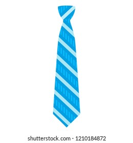 Blue striped tie icon. Flat illustration of blue striped tie icon for web design