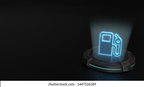 blue stripes digital laser 3d hologram symbol of gas pump station render on old metal sci-fi pad background