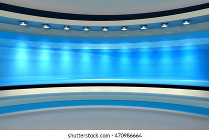 Blue Studio.  Blue back drop. 3d rendering