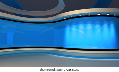 Blue Studio. Blue back drop. News studio. The perfect backdrop for any green screen or chroma key video or photo production. Breaking news. 3d rendering.