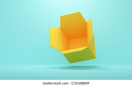 Blue studio background with yellow empty open box. Backdrop design for product promotion. 3d rendering
