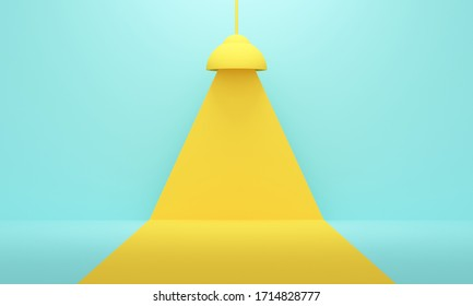 Blue studio background with a yellow lamp. Backdrop design for product promotion. 3d rendering