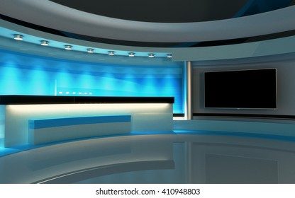 Blue studio. Tv Studio. News studio. The perfect backdrop for any green screen or chroma key video or photo production. 3d render. 3d visualisation