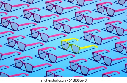 Blue Stylish hipster glasses pattern backdrop Colorful design Beautiful vacation still life 3d render illustration idea Sweet summer objects closeup