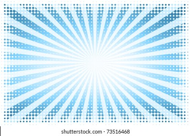 Blue sun with halftone pattern