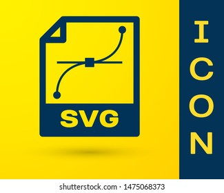 Blue SVG file document icon. Download svg button icon isolated on yellow background. SVG file symbol