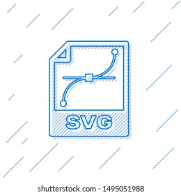 Blue SVG file document icon. Download svg button line icon isolated on white background. SVG file symbol