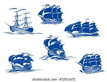Blue tall ships or sailing ships, one with its sails stowed and the others with their full sails set cruising the ocean