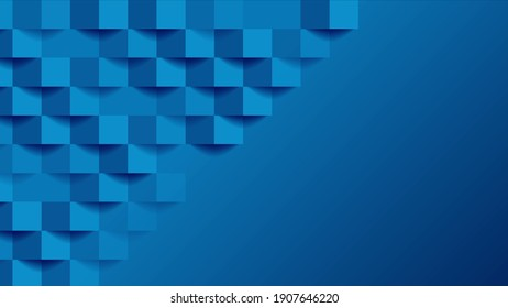 Blue tech geometric mosaic squares abstract background
