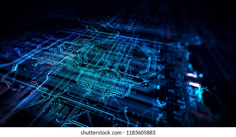 Blue technology background circuit board and code. 3d Rendering/Blue technology background