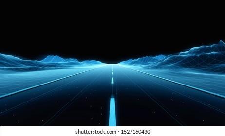 Blue Technology Digital Highway background