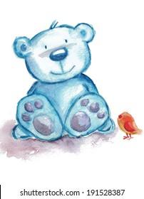 blue teddy bear with bird
