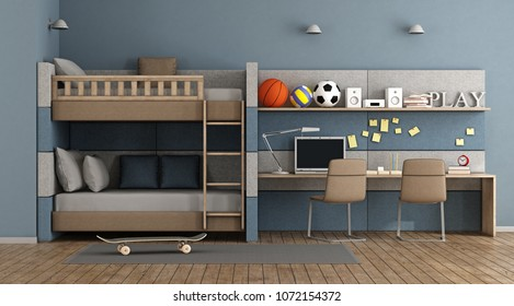 Blue Teen room with bunk bed , desk and chair - 3d rendering